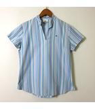 シャツ ブラウス カットソー 半袖 ストライプ ロゴ 刺繍 プルオーバー スキッパー M 38 水色 青 白 マルチカラー 国内正規品