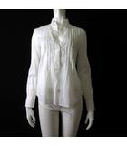 シャツ ブラウス ピンタック スキッパー プルオーバー 長袖 シフォン シアー M 38 白 ホワイト