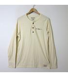 トゥルーレリジョン TRUE RELIGION Tシャツ ロンT ヘンリーネック ロゴ 刺繍 長袖 スラブ コットン M アイボリー ライトベージュ USA製 国内正規品