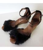 ガイモ GAIMO marta by GAIMO サンダル ウエッジサンダル アンクルベルト ファー 37 黒 ブラック 23.5cm くつ 靴 シューズ