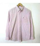 シャツ カジュアルシャツ 長袖 ボタンダウン マルチ ストライプ ロゴ 刺繍 シワ加工 コットン M ピンク 白 ホワイト