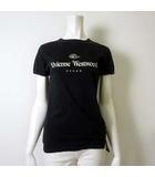 Tシャツ カットソー 半袖 ロゴ プリント L 46 黒 ブラック