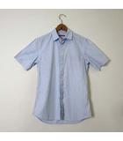 プラダ PRADA シャツ カジュアルシャツ 半袖 ストライプ 総柄 比翼ボタン XS 青 ブルー 国内正規品 小さいサイズ