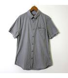 デシグアル Desigual MAN シャツ ボタンダウン 半袖 ロゴ 刺繍 総柄 ステッチ ヴィンテージ加工 コットン S グレー