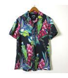 デシグアル Desigual MAN シャツ 花柄 ボタニカル ロゴ 刺繍 半袖 オープンカラー ウッドボタン M 黒 緑 赤 マルチカラー