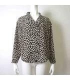 シャツ ブラウス 長袖 オープンカラー 花柄 シャリ感 13 XL 白 ホワイト 黒 ブラック 大きいサイズ 美品