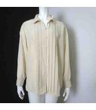 シャツ ブラウス 長袖 ピンタック 透け感 シアー 13 XL ベージュ 大きいサイズ