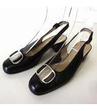 サルヴァトーレフェラガモ Salvatore Ferragamo パンプス ヴァラ バックストラップ 本革 レザー 5.5 C 黒 ブラック シルバー 金具 22.5cm くつ 靴 シューズ