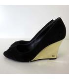 グッチ GUCCI パンプス ウエッジパンプス GG ロゴ 本革 スエード レザー オープントゥ 36.5 C 黒 ブラック ゴールド 23.5cm くつ 靴 シューズ