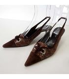 ドルチェ&ガッバーナ ドルガバ DOLCE&GABBANA ミュール パンプス リザードレザー バックストラップ 36 モカ ブラウン 茶色 23.0cm くつ 靴 シューズ