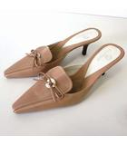 ミュール サンダル 本革 レザー 6 B ベージュ 白 ホワイト 23.0cm くつ 靴 シューズ