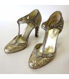 ミュウミュウ miumiu パンプス ヒールパンプス スパンコール装飾 ビジュー ヒール 35 ゴールド シルバー 22.5cm くつ 靴 シューズ