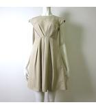 ワンピース コットン シルク フレンチ 半袖 タック プリーツ 綿 絹 フレア 00 XS ベージュ 小さいサイズ 国内正規品