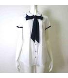 シャツ ブラウス 半袖 リボンタイ ピンタック ストレッチ 丸襟 バイカラー 1 M 白 ホワイト 紺 ネイビー