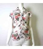 シャツ ブラウス 半袖 シフォン シアー 花柄 ハート フリル 1 M 白 ホワイト グレー