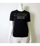 Tシャツ カットソー 半袖 CATEN BROS ロゴ アップリケプリント XS 黒 ブラック 国内正規品