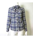 シャツ ブラウス 長袖 リボンタイ チェック 配色 コットン 1 M 青 ブルー 白 ホワイト