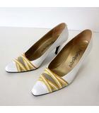 イヴサンローラン YVES SAINT LAURENT パンプス ヒールパンプス 本革 レザー メッシュ 切替え 35 白 ホワイト イエロー 22.5cm くつ 靴 シューズ