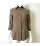 ナラカミーチェ NARA CAMICIE シャツ ブラウス 7分袖 リネン 麻 ステッチ 刺繍 コットン 1 M 茶 ブラウン