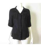 ナラカミーチェ NARA CAMICIE シャツ ブラウス ロールアップ 7分袖 リネン 麻 100% オープンカラー 2 L 黒 ブラック