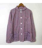 コーエン coen シャツ カジュアルシャツ 長袖 マルチ チェック 丸襟 コットン S 赤 レッド 紺 ネイビー