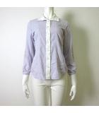 ナラカミーチェ NARA CAMICIE シャツ ブラウス クレリック フリル 衿 長袖 コットン ツイル 1 M 薄紫 ラベンダー