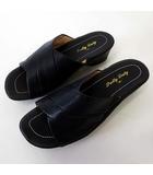 Pretty Lady サンダル スリッパ レザー M 黒 ブラック 23.0cm くつ 靴 シューズ