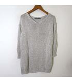 ビーアビリティ B ability ニット サマー セーター 7分袖 オーバーサイズ ざっくり コットン Vネック M 杢 グレー