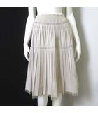 ボディドレッシングデラックス BODY DRESSING Deluxe スカート ミモレ丈 フレア プリーツ シルク 絹 シフォン 切り替え 36 S ベージュ