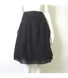 アンタイトル UNTITLED スカート Aライン フレア ボックス プリーツ 裾 シフォン 1 M 黒 ブラック