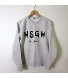 エムエスジーエム MSGM トレーナー スウエット 長袖 Basic Brush Logo Sweatshirt ロゴ プリント L ライトグレー 杢 2740MM104 国内正規品