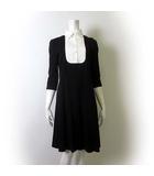 ダーマコレクション dama collection ワンピース ドッキングワンピース 半袖 5分袖 ピンタック ブラウス襟 ストレッチ L 11AR 黒 ブラック 白