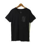 ジュンハシモト junhashimoto Tシャツ 半袖 オーガニック コットン 100% レザー ポケット Vネック M 黒 ブラック