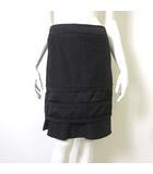 ボディドレッシングデラックス BODY DRESSING Deluxe スカート リネン 麻 ティアード フリル 裾 フレア 36 S 黒 ブラック