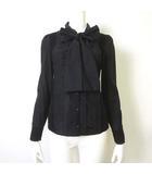 トゥービーシック TO BE CHIC シャツ ブラウス 長袖 シルク 絹 リボンタイ シフォン 異素材 切り替え フリル ピンタック 40 L 黒 ブラック