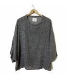 ブフト bukht ニット カットソー サマーニット セーター 7分袖 リネン 麻 ざっくり 2 M グレー 杢 黒 ブラック 白 日本製
