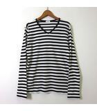 エディフィス EDIFICE Tシャツ ボーダー 長袖 ワッフル サーマル コットン Vネック ロンT 38 M 白 ホワイト 黒 ブラック 美品