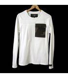 ハイドロゲン HYDROGEN Tシャツ カットソー 長袖 ロンT カモフラ柄 ビッグポケット ロゴ 刺繍 S 白 ホワイト カーキ 迷彩