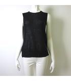 ドゥロワー Drawer ニット カットソー ベスト ノースリーブ シルク 絹 100% スパンコール 透け感 M 2 黒 ブラック