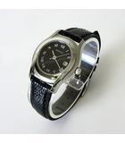 腕時計 5500L ローマン デイト レザーベルト 黒 ブラック 文字盤 クオーツ ウォッチ 電池交換 オーバーホール済