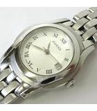 腕時計 5500L ローマン デイト ステンレス クオーツ ウォッチ シルバー 文字盤 電池交換 オーバーホール済