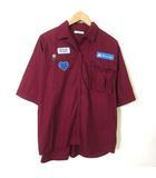 ジュエティ jouetie シャツ 半袖 オーバーサイズ オープン カラー ワッペン 刺繍 コットン M エンジ ボルドー