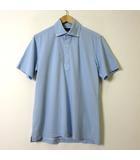 バーニーズニューヨーク BARNEYS NEW YORK ポロシャツ 半袖 ボタンダウン ドライ 鹿の子 L 水色