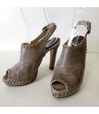 サンダル サボサンダル ハイヒール ヴィンテージレザー ロックスタッズ装飾 36 グレー ブラウン 23.0cm くつ 靴 シューズ