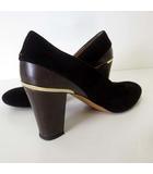 apres パンプス ハイヒール スエードレザー 切替え 22.5cm 黒 ブラック ダークブラウン くつ 靴 シューズ