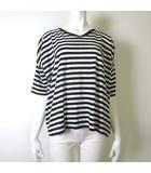 ピュアルセシン pual ce cin カットソー Tシャツ ハーフスリーブ 半袖 ボーダー オーバーサイズ M-L 白 ホワイト 黒 ブラック 美品