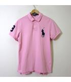 ラルフローレン RALPH LAUREN ポロシャツ 半袖 ビッグ ポニー ナンバー 刺繍 コットン 鹿の子 カスタムフィット L ピンク 国内正規品 美品
