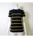 アベイシングエイプ A BATHING APE Tシャツ カットソー 半袖 ボーダー ロゴ プリント XS 紺 ネイビー 黄色 イエロー 国内正規品