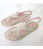 サンダル ビーチサンダル 2way ロゴ 刺繍 24.0cm ベージュ ピンク US 7 くつ 靴 シューズ