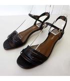 サンダル ストラップサンダル レザーベルト 21.5cm 黒 ブラック ブラウン くつ 靴 シューズ